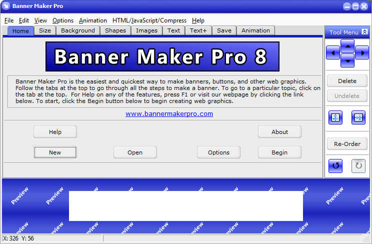 Create a banner ad, web button, logo or web graphics quickly and easily.